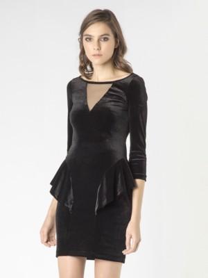 Patrizia Pepe - Короткое платье из бархата со вставками из тюля от Patrizia Pepe