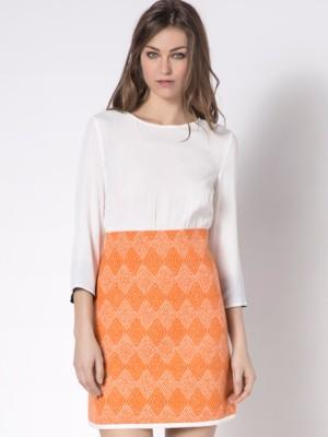 Patrizia Pepe - Короткое платье смешанного состава с шелковой рубашкой и юбкой из фасонной ткани