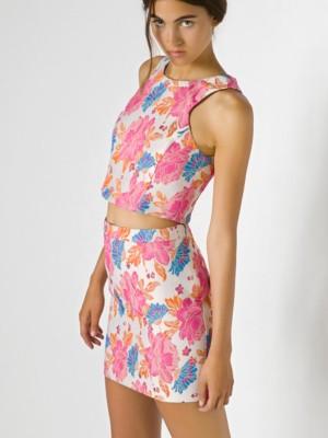 Patrizia Pepe - Короткая юбка с завышенной талией из ткани с цветочным рисунком от Patrizia Pepe
