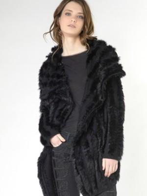 Patrizia Pepe - Пальто-кардиган из трикотажной шерсти и натурального кроличьего меха