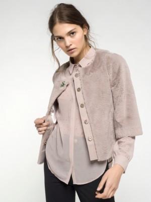 Patrizia Pepe - Пальто-накидка из синтетического меха с декоративной пуговицей