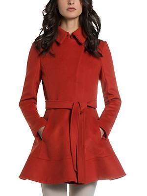 Patrizia Pepe - Wool fabric coat in feminine cut with closed collar