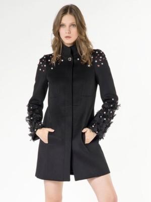 Patrizia Pepe - Пальто из шерстяного полотна с декоративным тюлем, заклепками и стразами