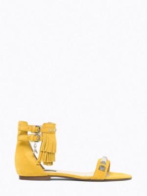 Patrizia Pepe - Замшевые сандалии на низком каблуке с металлическим декором