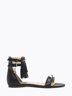 Patrizia Pepe - Кожаные сандалии на низком каблуке с металлическим декором