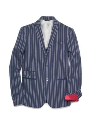 Patrizia Pepe - Классический пиджак на 2 пуговицах из комфортного хлопка в крупную полоску